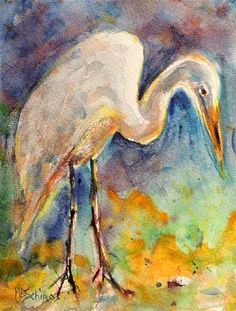 """Daily Paintworks - """"Great Egret"""" - Original Fine Art for Sale - © Mary Schiros"""