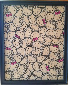 Hello Kitty burlap fabric magnetic bulletin board. Custom orders are my pleasure.
