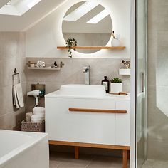 You can update your bathroom to give it a spa like feel with stylish GoodHome adriska furniture and lighter colours to make the room more relaxing. Add natural accessories to soften the room. Light Colors, Colours, Natural Accessories, Relaxing Bathroom, Decoration, Lighter, New Homes, Bathtub, Stylish