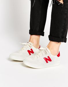 New Balance 300 White/Red Suede Trainers
