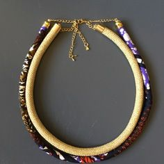 Collier wax et cordon doré strass multicolore tissu africain style ethnique