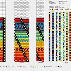 "bead crochet chart - bright colours w/""tribal"" bead pattern"