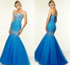 Royal Blue 2015 Evening Dresses Formal Crystal Mermaid Long Party Prom Gowns With Beads Sweetheart Neck Plus Size Tulle Gowns Dress Online with $135.29/Piece on Hjklp88's Store