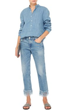 Founded by denim impresario Scott Morrison, this jeans label cultivates a firm following for its flattering jeans, crafted entirely in-house from some of the world's most covetable fabrics. Crafted in ultra soft denim, these **3x1** jeans feature a straight leg and fringed hem.