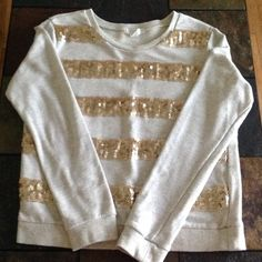 Tan sweatshirt with gold sequin stripes Cute and in good condition. Forever 21 Tops