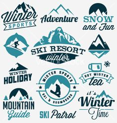 Winter sports badges and labels vector by safy20 on VectorStock®