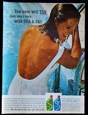 Vintage 1963 Sea & Ski Suntan Lotion Oil Magazine Ad