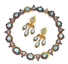 GOLD AND AQUAMARINE NECKLACE AND PAIR OF MATCHING GIRANDOLE PENDANT-EARRINGS, CIRCA 1830 - Photo c/o Sotheby's