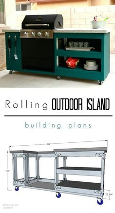 Learn to build your own Rolling Outdoor Island with FREE building plans! Learn to build your own Rolling Outdoor Island with FREE building plans! Your deck is going to be awesome this summer! Bbq Grill Island, Outdoor Grill Island, Outdoor Grill Station, Grill Cart, Outdoor Barbeque, Diy Outdoor Kitchen, Outdoor Cooking, Outdoor Decor, Modular Outdoor Kitchens