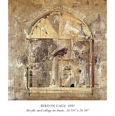 Bird in Cage, 1997, Fred Otnes, collage painting - acrylic and collage on linen, 26 3/4 x 26 x 3/4 in., USA