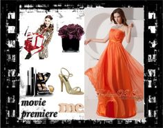 """Orange Red Empire Evening Dress Strapless Chiffon Ruch Floor-length"" by gorgeousdressesforyou ❤ liked on Polyvore"