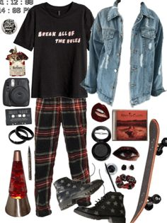 this is my entry for grunge contest! Discover outfit ideas for night out made with the shoplook outfit maker. How to wear ideas for T-shirt with Printed Design and Black Rose Stud Earrings 70s Outfits, Teen Fashion Outfits, Grunge Outfits, Cool Outfits, Vintage Outfits, Aesthetic Grunge Outfit, Aesthetic Fashion, Aesthetic Clothes, Nirvana Outfit