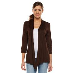 Women's AB Studio Open-Front Cardigan, Size: Xlrg Av/Rg, Brown