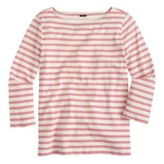 J.Crew Striped Boatneck T-Shirt ❤ liked on Polyvore featuring tops, t-shirts, j crew t-shirts, striped tee, boat neck t shirt, j crew tee and pink tee