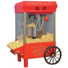 Nostalgia Electrics Vintage Collection Kettle Popcorn Maker - This carnival style kettle popcorn cart makes hot, fresh, delicious popcorn just like the movie theaters. It features a large stainless steel kettle with a built in stirring syste Kettle Popcorn, Popcorn Cart, Popcorn Maker, Popcorn Kernels, Popcorn Oil, Carmel Popcorn, Specialty Appliances, Small Appliances, Kitchen Appliances