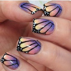 Credit to @sensationails4u nail art beautiful butterfly wing sparkle fade