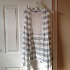 Vest Gray & white striped polyester/rayon/spandex vest top. Great over a tank top or long sleeve shirt. Has lace back. Other
