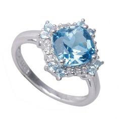 PIERŚCIONEK NELL BLUE  ; Srebrny pierścionek, zaręczynowy z blue topaz