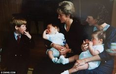 Diana and Harry at the christening of her godchildren Chris and Ben, the sons of her dresser Fay Appleby