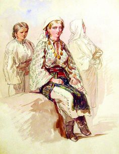 Rich Peasant Girl from Arges ( Wallachia, Romania) - Amedeo Preziosi 1869 Romanian blouse with traditional clothing from Arges region. European Costumes, Folk Costume, Traditional Outfits, Romania, Folk Art, Textiles, Princess Zelda, Clothing, Fictional Characters