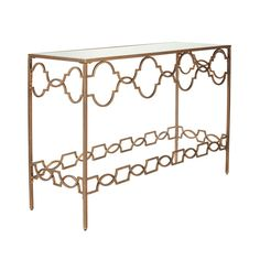 A show-stopping metal console table featuring an antiqued gold finish frame and an antiqued mirrored top. The Camille Console Table will add a touch of decadence to your scheme whilst keeping the overall look understated. Perfect for a bedroom, it would pair well with our other antiqued gold and mirrored pieces. Please note that this product is delivered flat packed, so some simple self-assembly is required. Please be aware that the bottom decoration goes around all four sides of the…