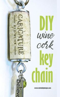 Learn how to make your own wine cork key chains with this easy to follow tutorial. They are a cute small gift to give a friend or co-worker or even to use as a gift tag! #michellejdesigns #diywinecorkcrafts #diykeychain Wine Cork Art, Wine Cork Crafts, Wine Bottle Crafts, Wine Corks, Wine Bottles, Wine Cork Jewelry, Wine Cork Projects, Diy Craft Projects, Craft Ideas