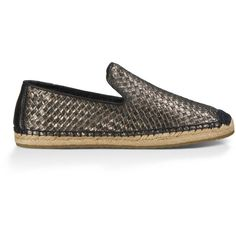 UGG Australia Sandrinne Metallic Basket 1010196-BLK-08 ($120) ❤ liked on Polyvore featuring shoes, women, women - footwear - casuals, metallic shoes, ugg® australia shoes, ugg australia, genuine leather shoes and woven shoes