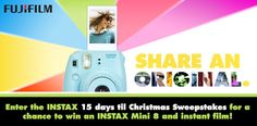 Check out this from FUJIFILM!  Enter the INSTAX \&%2334;15 Days 'Til Christmas\&%2334; Sweepstakes for a chance to win an INSTAX Mini 8 camera with instant film. The more you share, the more entries into the sweepstakes you'll receive.  Visit INSTAX Facebook for details: https://www.facebook.com/FUJIFILM.INSTAX