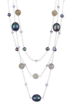 Labradorite, Iolite & Freshwater Pearl Necklace by Candela on @HauteLook