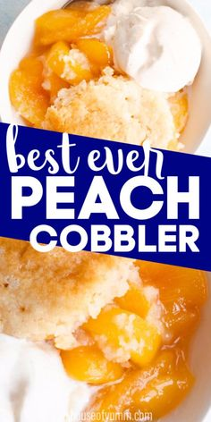 This classic southern dessert recipe is perfected and may even be the best cobbler youve ever had! Made with fresh peaches and a crispy buttery vanilla topping this cobbler recipe is quite possibly perfect! Single Serve Desserts, Desserts For A Crowd, Winter Desserts, Healthy Dessert Recipes, Party Desserts, Christmas Desserts, Hot Fudge Cake, Hot Chocolate Fudge, Chocolate Cobbler