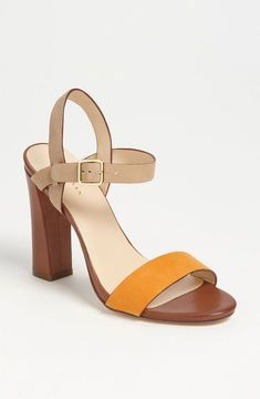 Cole Haan 'Minetta' #Sandals in brown, nude and popping orange! Colour blocking at it's best :) #shoes #heels £110.98
