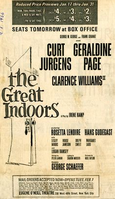 "Nachlass Curd Jürgens | ""The Great Indoors"" Zeitungsinserat, 9.1.1966"