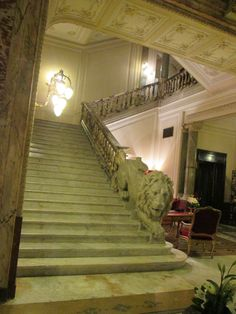 The lion staircase at the Grand Hotel Plaza Rome Green Marble, Grand Hotel, Italy Travel, Rome, Lion, Films, Stairs, House Design, Home Decor