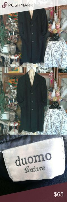 """DUOMO COUTURE MEN'S DESIGNER OVERCOAT WOOL blend, fully lined, 3 cuff buttons, two front pockets, measurements, 24"""" armpit to armpit, 42"""" long, 24"""" sleeves, 17"""" back vent, ♡♡♡GREAT PRE-LOVED CONDITION♡♡♡ duomo Couture Jackets & Coats Trench Coats"""