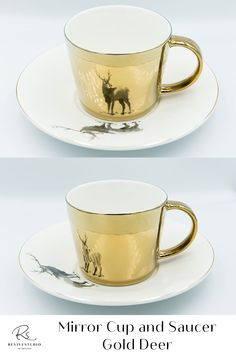 Elegant Deer Image reflected on a Gold mirror cup from a matching Gold trim saucer plate. Find pleasure by using this mirror reflection cup set created by the latest electroplating technology. Bring your tea or coffee time to the next level of luxury. The mirrored cup gift set comes with either gold or silver reflections and different designs or patterns on the saucers. The image is perfectly reflected by the mirrored cup. Mirror Cup, Cupping Set, Coffee Time, Cup And Saucer, Deer, Reflection, Tea Cups, Plates, Technology