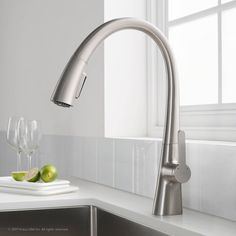 KRAUS Nolen™ Single Handle Pull Down Kitchen Faucet with Dual Function Sprayhead in all-Brite™ Spot Free Stainless Steel Finish Bar Faucets, Kitchen Sink Faucets, Kitchen Handles, Kitchen Fixtures, Sinks, Kitchen Faucet Reviews, Thing 1, Under Sink, All Modern