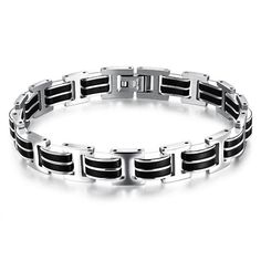 a5e73fa3467 Genuine Silicone Mens Stainless Steel Casual Style Bracelet Double Safety  Clasps