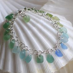 Natural Sea Glass Rare Teal Blue Spectrum by TidelineDesigns, $169.00