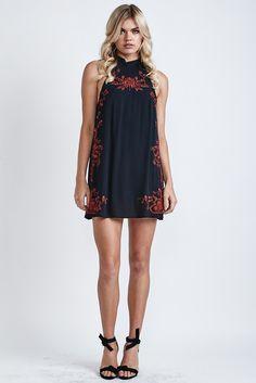 Secret Garden Embroidered Dress Red/Black - Morrisday   The Label