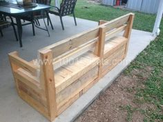 Patio chair and storage box made with Pallets