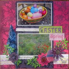 For the background paper I used the Pink Crackle paper and for the pink flower below. I added the Purple crackle paper to frame the pictures, and for the two purple flowers. For the fun paper feathers I used the Blue crackle paper! I hand cut the fea Diy Scrapbook, Scrapbooking Layouts, Scrapbook Pages, Easter Stickers, Paper Feathers, Nest Design, Paper Background, Paper Piecing, Purple Flowers