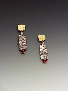 Pointy Spine: Hratch Babikian: Gold, Silver & Stone Earrings   Artful Home