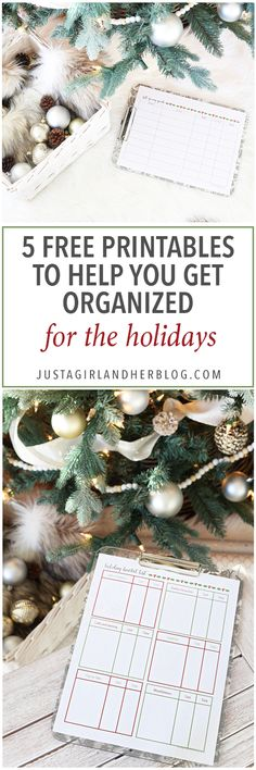 5 Free Printables to Help You Get Organized for the Holidays - Just a Girl and Her Blog