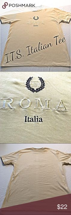 """I.T.S. Tee Shirt Embroidered Roma Italia  Size XXL I.T.S. Embroidered Roma Italia Rome T-shirt Tee Shirt Size XXL made in Italy.  (Italian sizes run small - fits like a US XL)  NWT! Measurements:  to be added.   Chest 24"""" (armpit to armpit), Length 30"""" (top of back collar down), Sleeves 9.5"""" (shoulder seam down).  From a pet-free / smoke-free home. Color: yellowish light tan & the stitched pattern above shows Romulus and Remus nursing from a wolf.  New with tag! I.T.S. Italy Shirts Tees…"""