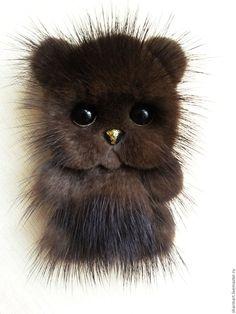 Купить Норковая брошь Медвежонок - коричневый, брошка, купить подарок, купить подарок девушке
