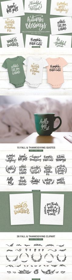 Fall & Thanksgiving bundle of 15 quotes & 38 clipart which can be used as cutting files or printables. You can use this bundle on mugs, decals, T-shirts, scrapbooking or even as photo overlays on social media.