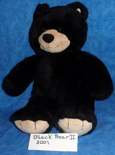 "Build A Bear 17"" Black Bear II TAN FEET, MUZZLE & EARS  Retired 2001 BABW  SE8 #BuildaBear #AllOccasion"