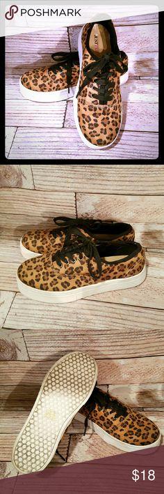 Leopard Sneakers by JustFab size 6.5 Leopard  Cammy Sneakers by JustFab  size 6.5  Gently worn JustFab Shoes Sneakers