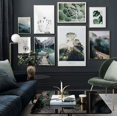 Picture wall with elegant motifs inspired by nature - Posterstor . - Wandgestaltung - Picture wall with elegant motifs inspired by nature – Posterstore. Inspiration Wand, Interior Inspiration, Living Room Designs, Living Room Decor, Bedroom Decor, Picture Wall Living Room, Living Room Pictures, Wall Art Pictures, Wall Photos