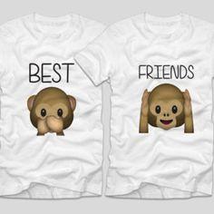Tricouri cu mesaj BFF Maimute - Tricouri cu mesaje Emoji, Bff, Onesies, Best Friends, Kids, Clothes, Fashion, Beat Friends, Young Children